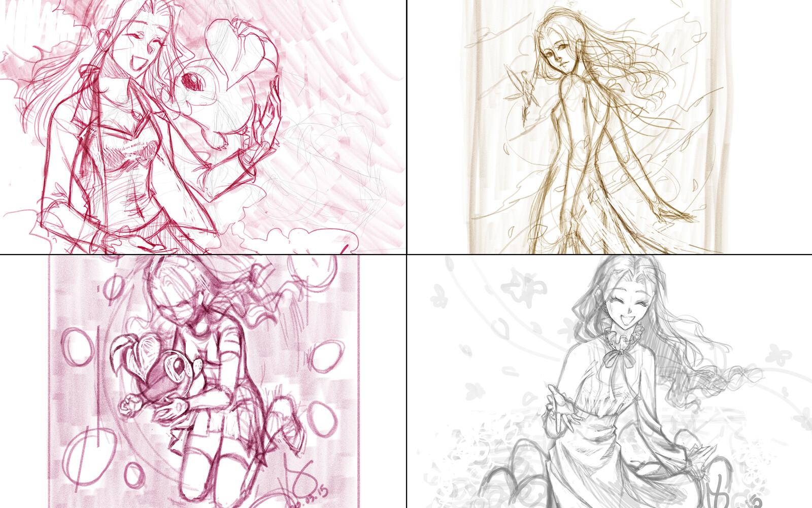 Concept sketches done in Adobe Fresco