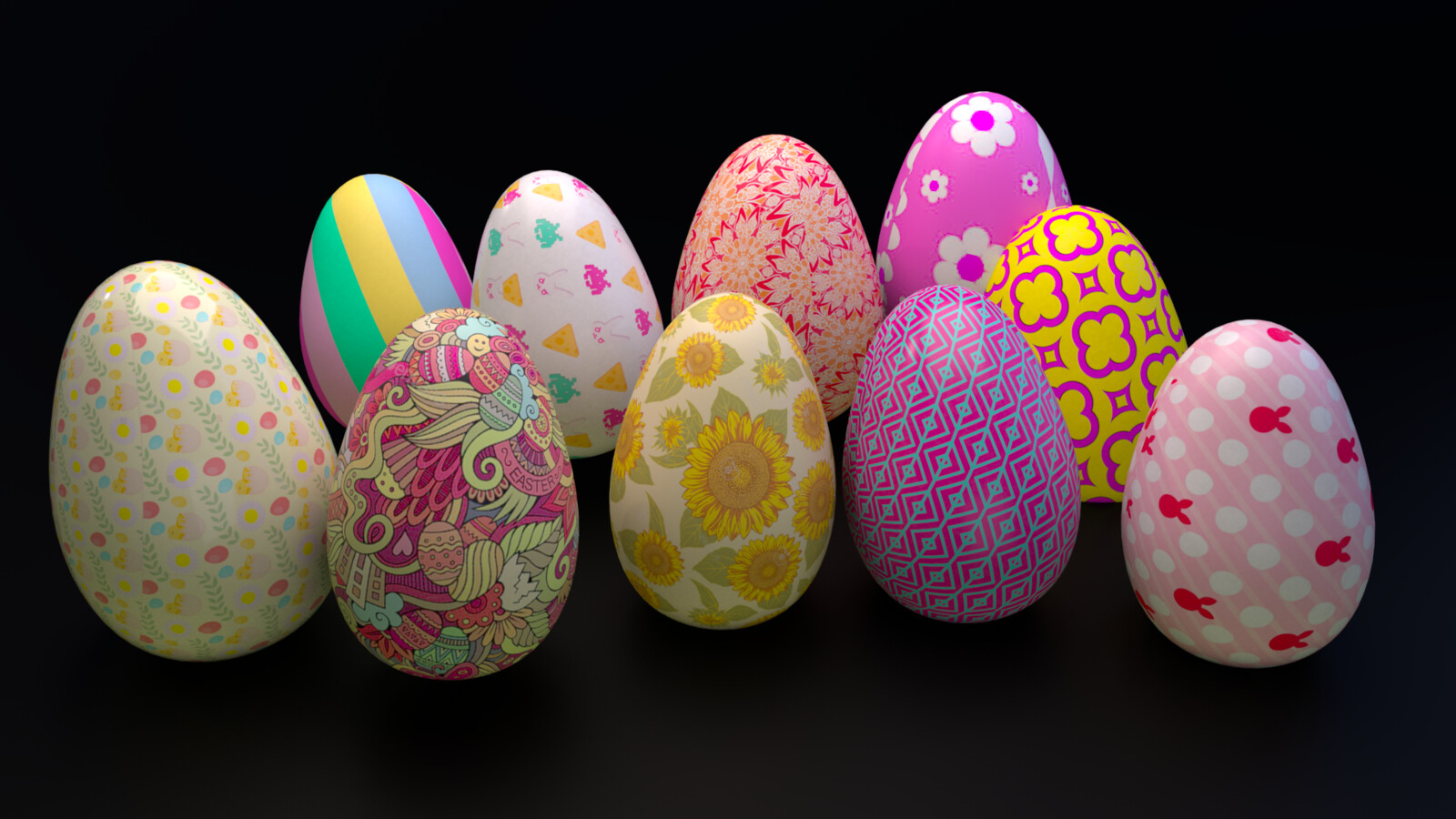 Variation of Easter eggs. Modeled and hand painted.