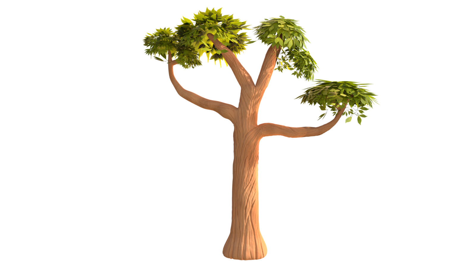 Tree modeled. Modeled in Maya and sculpted detail is done in Zbrush.