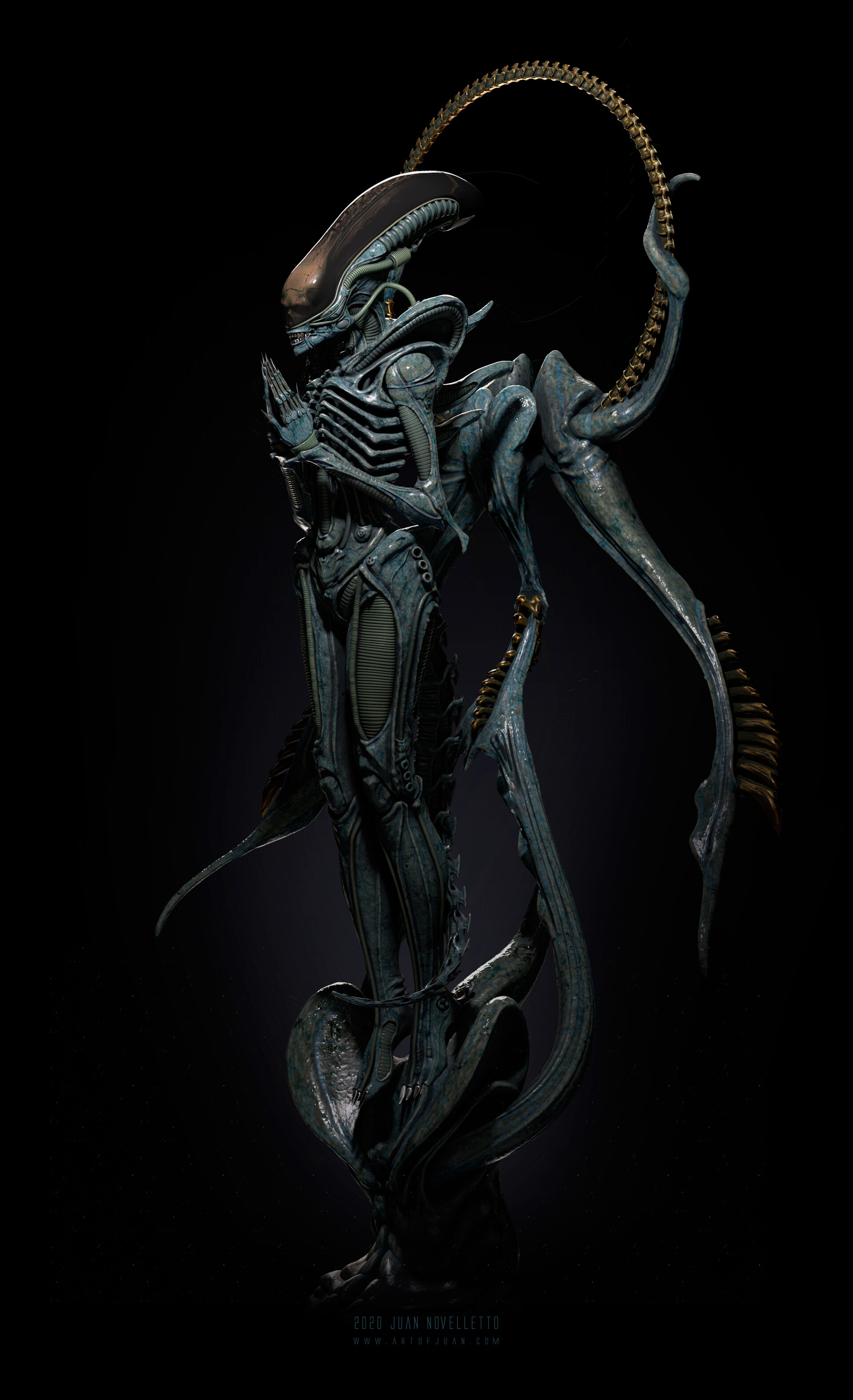 Alien xenomorph praying