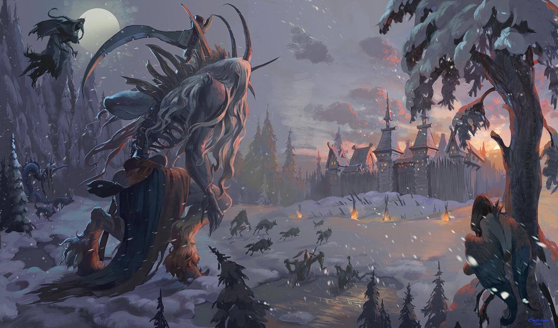 Night is coming - мрачный фэнтези арт с великанами, мистикой и волками