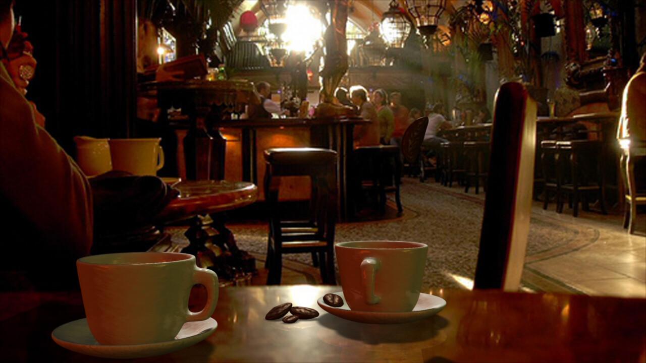 El café de fondo es real. La mesa también. Todo lo que está encima de la mesa es 3D. ----------------------------------------------------- The background cafe is real. The table is real. Everything on the table is 3D.