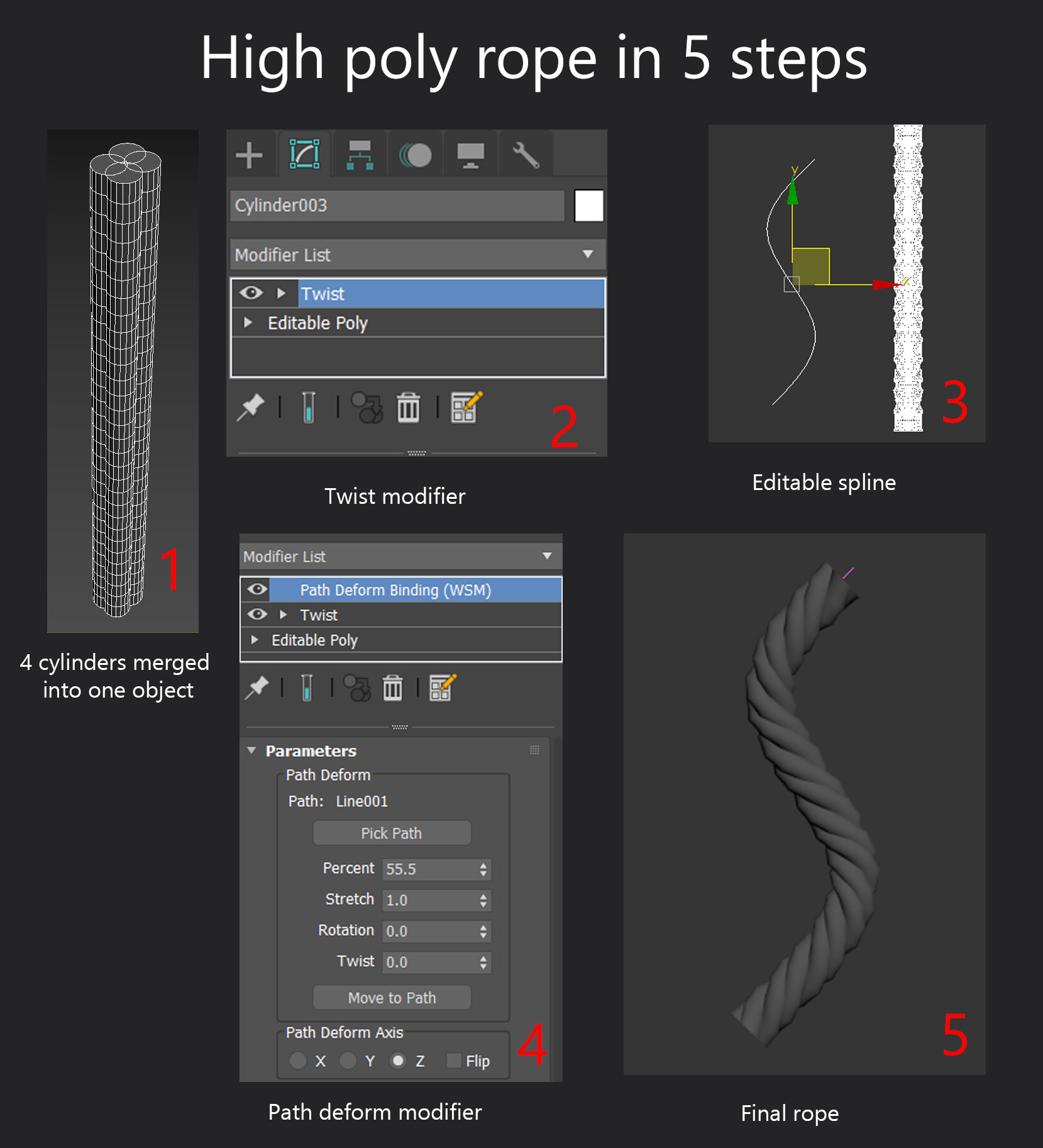 Modeling a rope might seem confusing, 