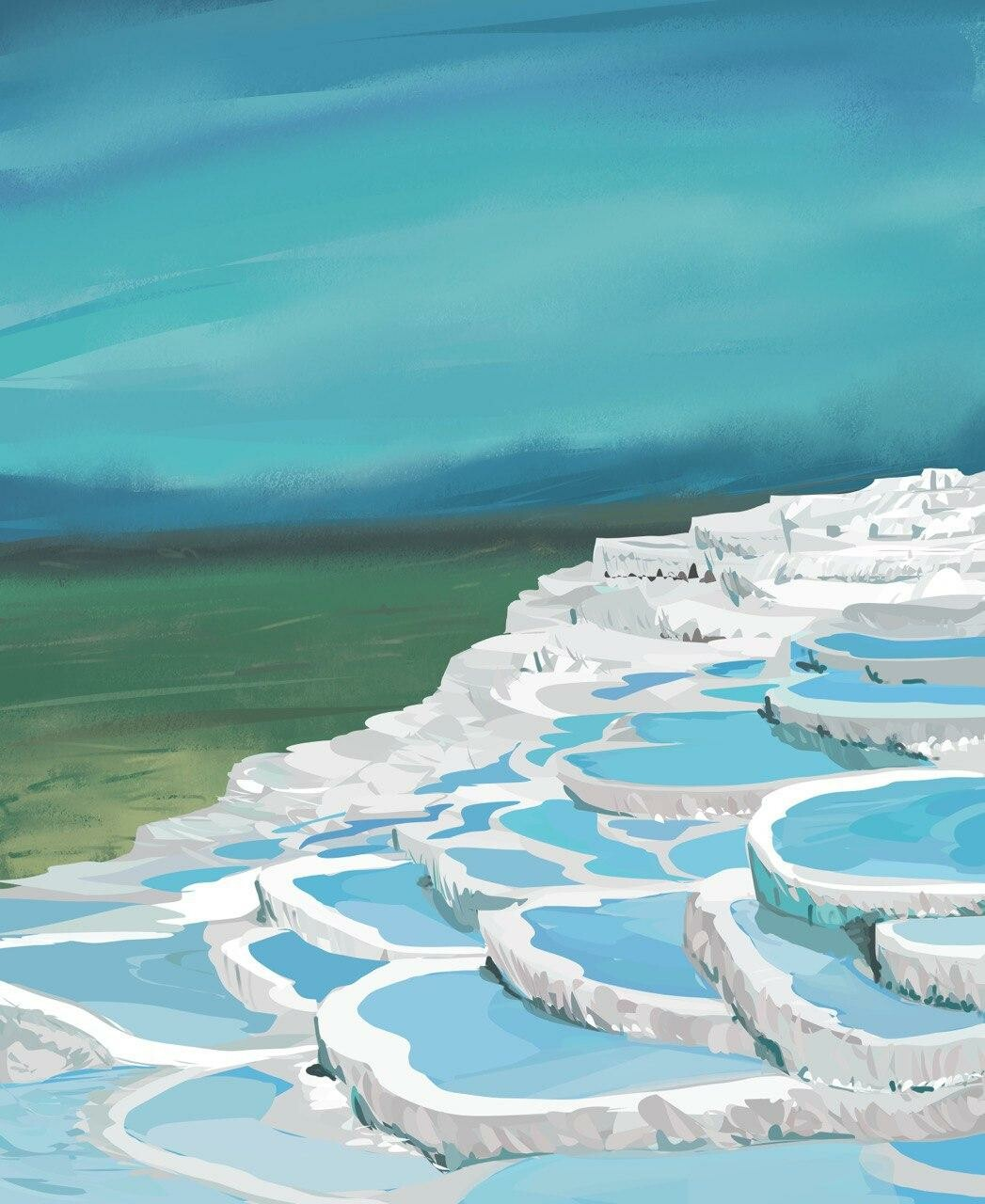 Pamukkale hot springs in Turkey.  Mostly flat fill tool.