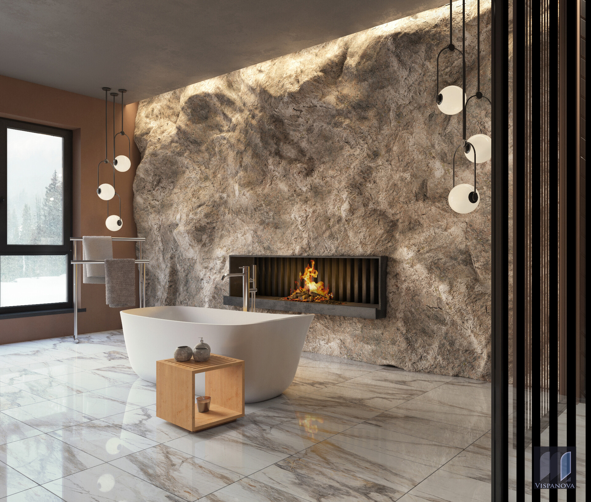 Visualization Bathroom Stone Wall, Bathroom Stone Wall