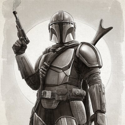 Pablo olivera the mandalorian star wars art print 300dpi drawing 05 baja