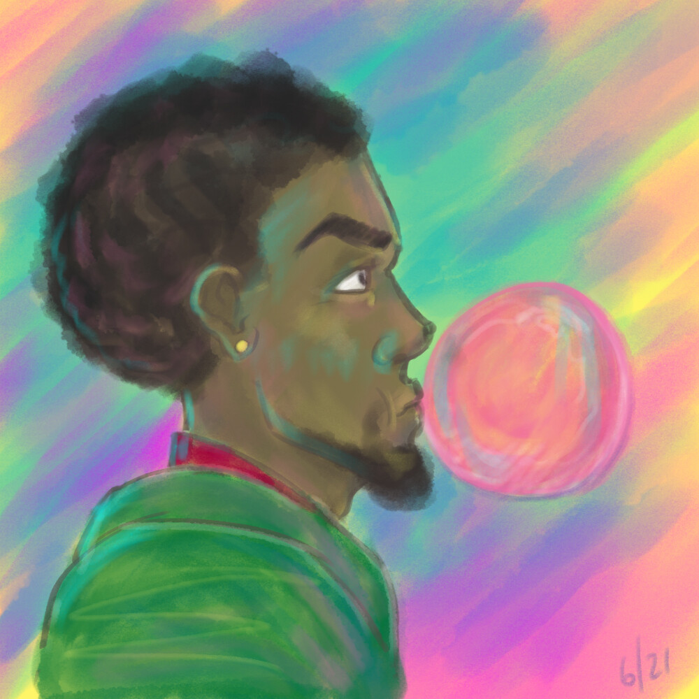 Day 6. Housemate said, 'bubble gum man', so came up with this.
