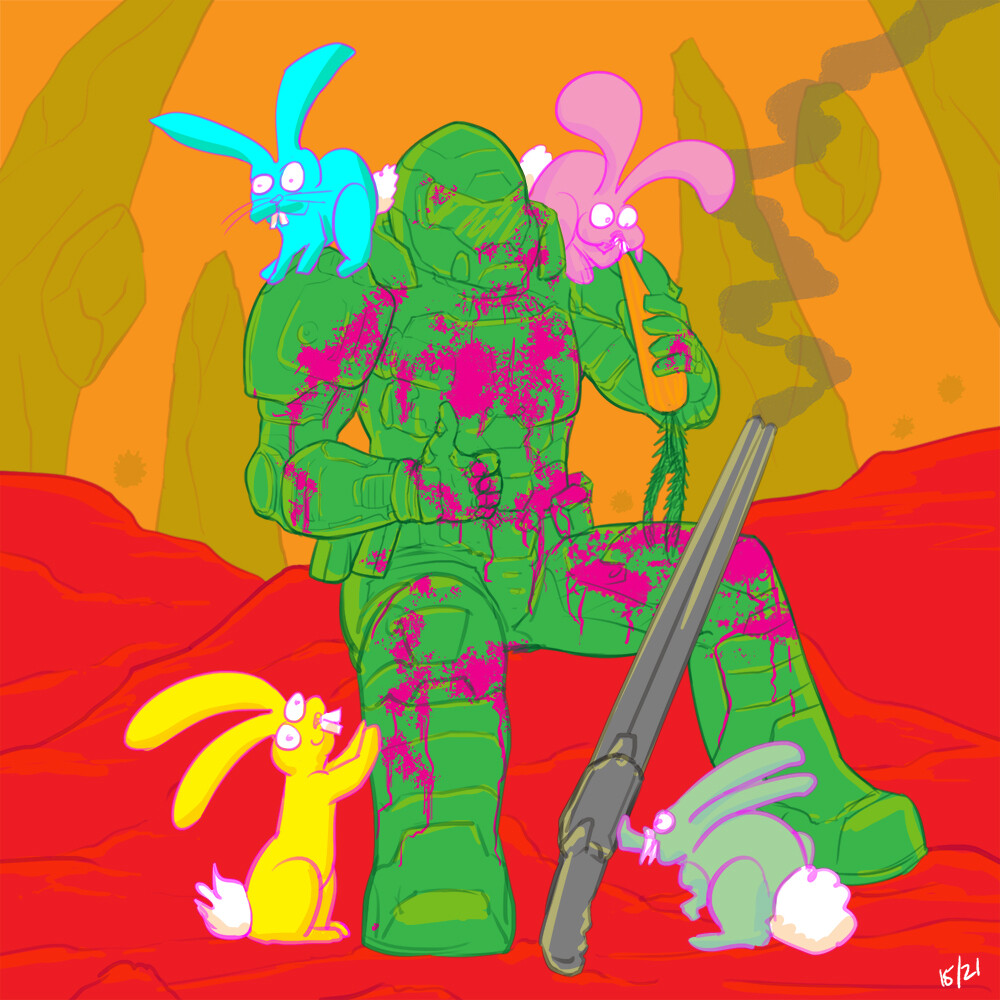 Day 15 Easter Friday. He did it all for the bunnies. to be honest, I was tired of drawing this armour by now.