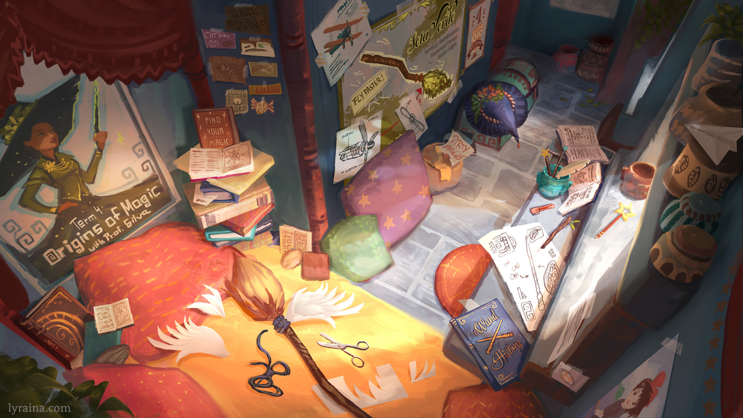 "Thea's bedroom (upstairs). This is where she's tinkering with anything she hopes might help ""unlock"" magic abilities within herself."