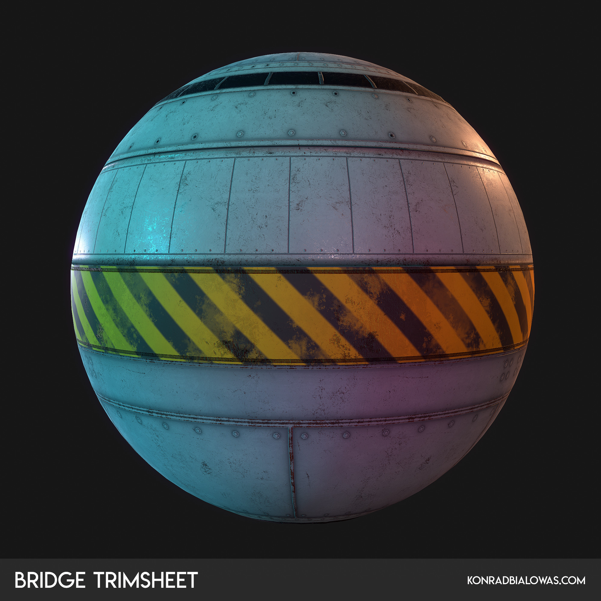 One of the trimsheets used created in Maya and Substance Painter