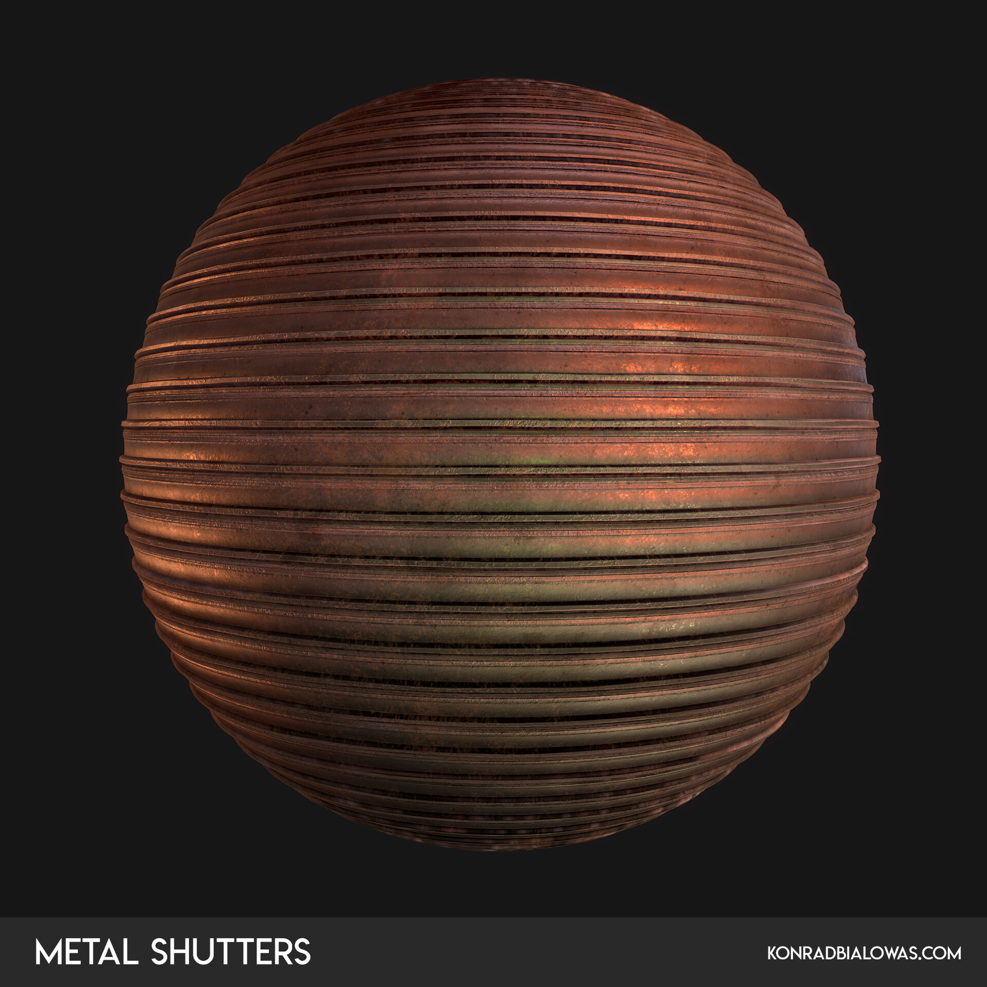Metal Shutters procedural material created in Substance Designer