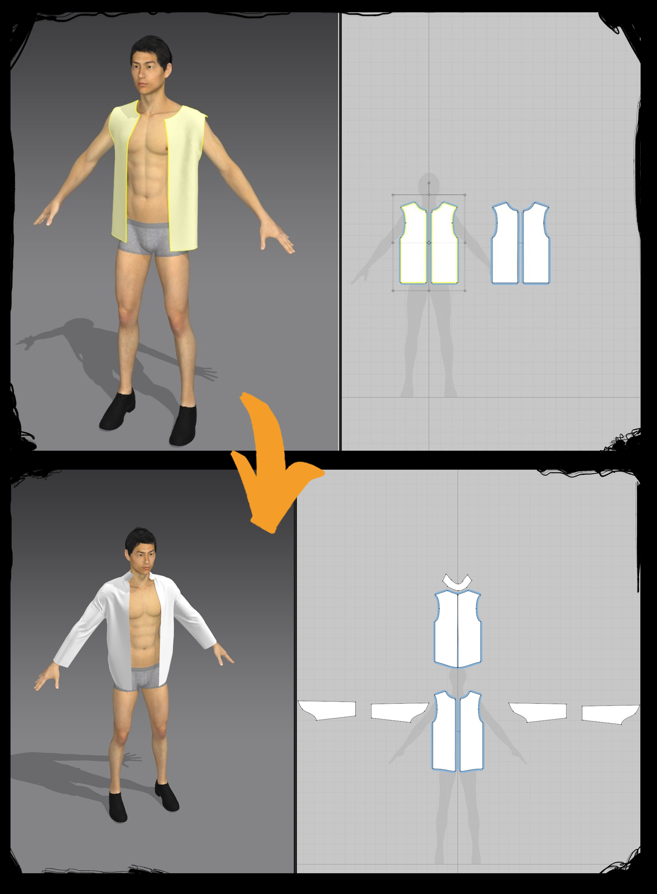 Shirt creation from scratch before simulation