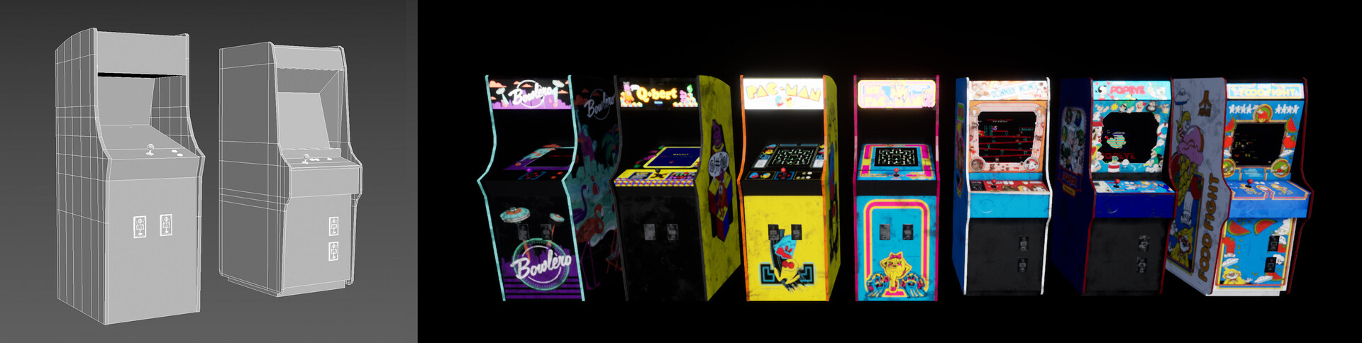 Arcades models wireframes and textures
