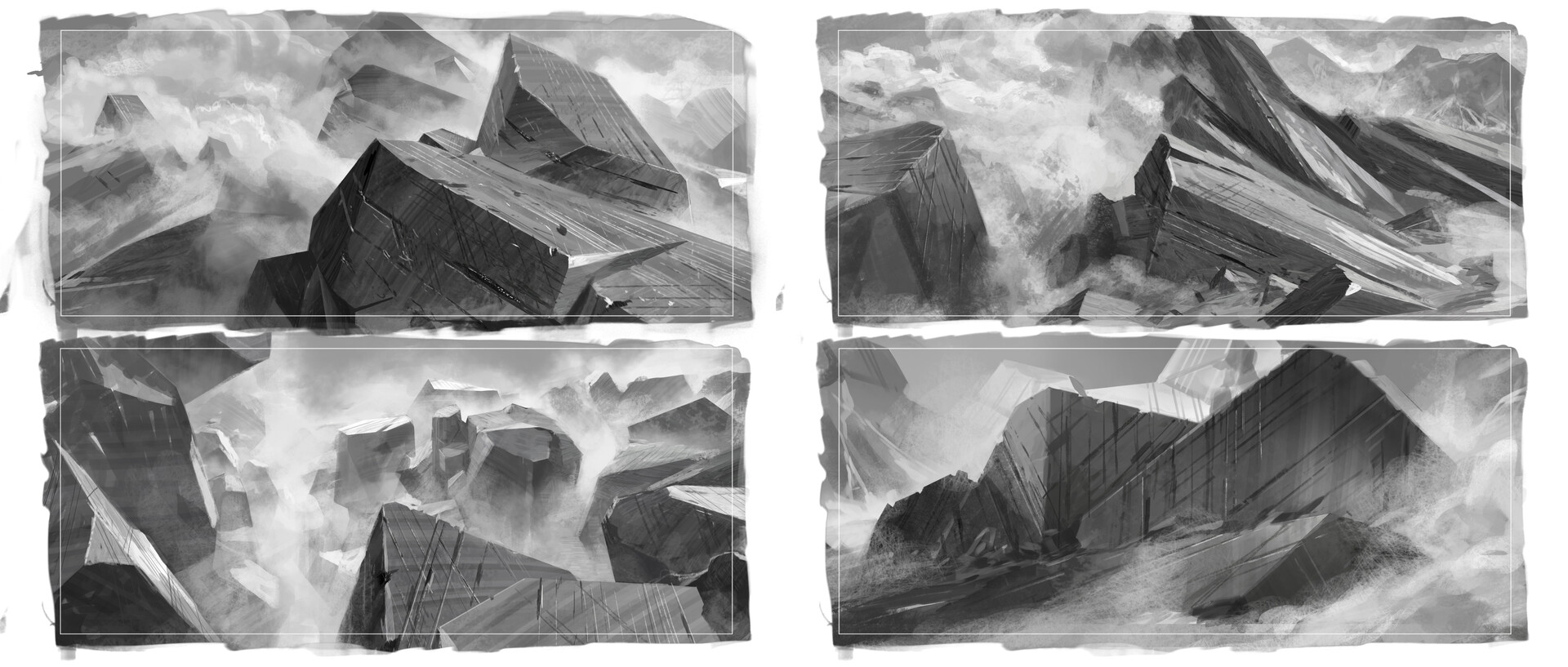 More thumbnails. I might do as much as a dozen of these before settling on a few to take to a full-blown scene.