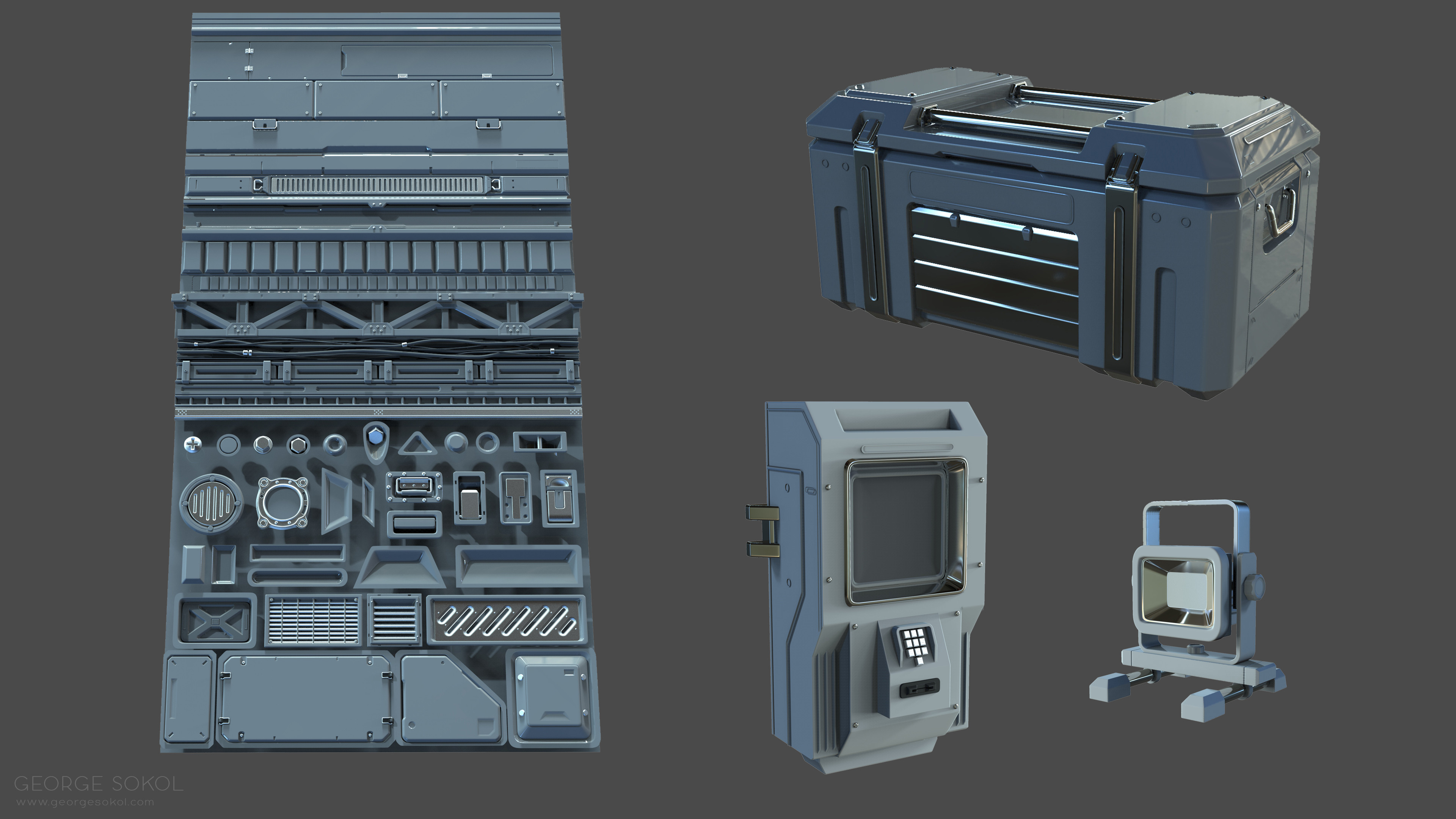 High poly work.  Some are more detailed as others, as I started adding smaller details in Painter instead.