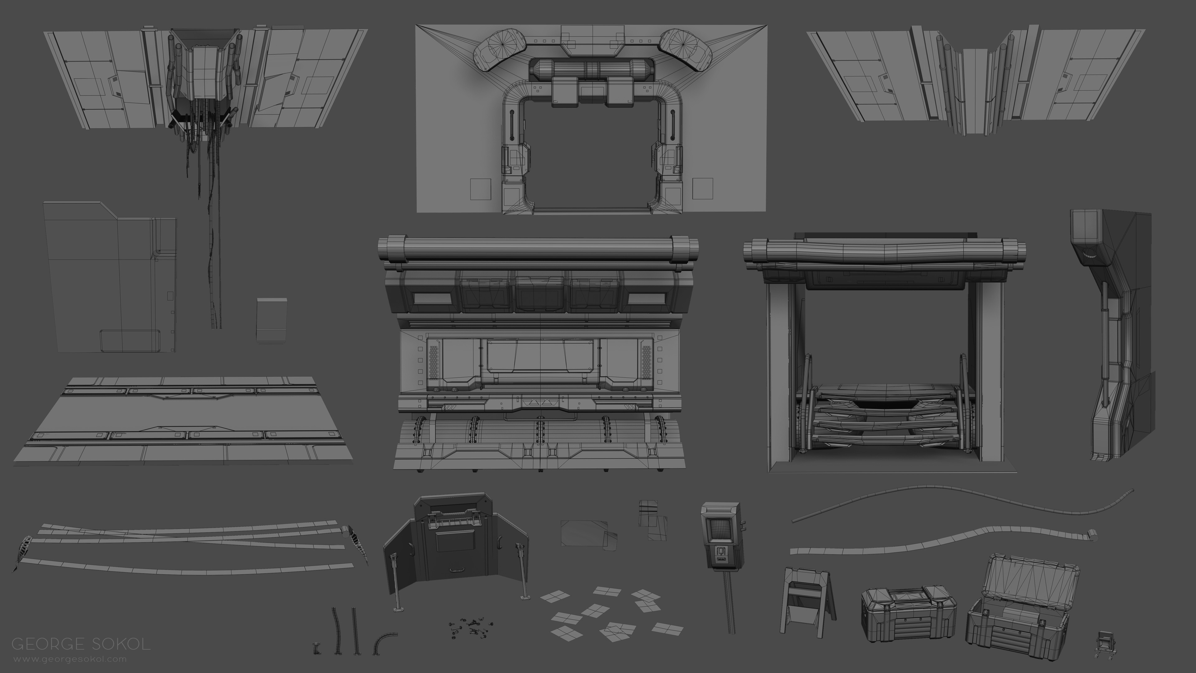 All the assets used to build the scene.