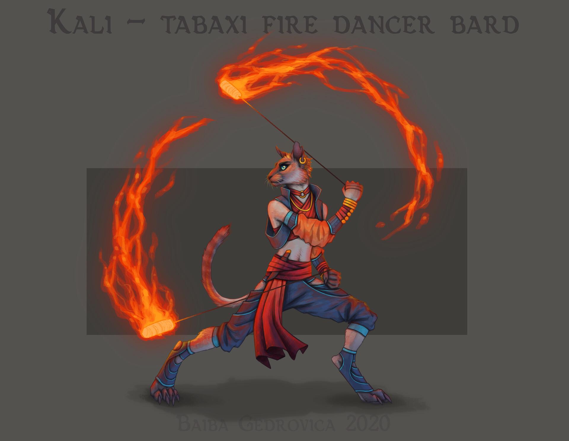 Artstation D D Kali The Tabaxi Fire Dancer Bard Baiba Gedrovica art tabaxi shadow monk : kali the tabaxi fire dancer bard baiba