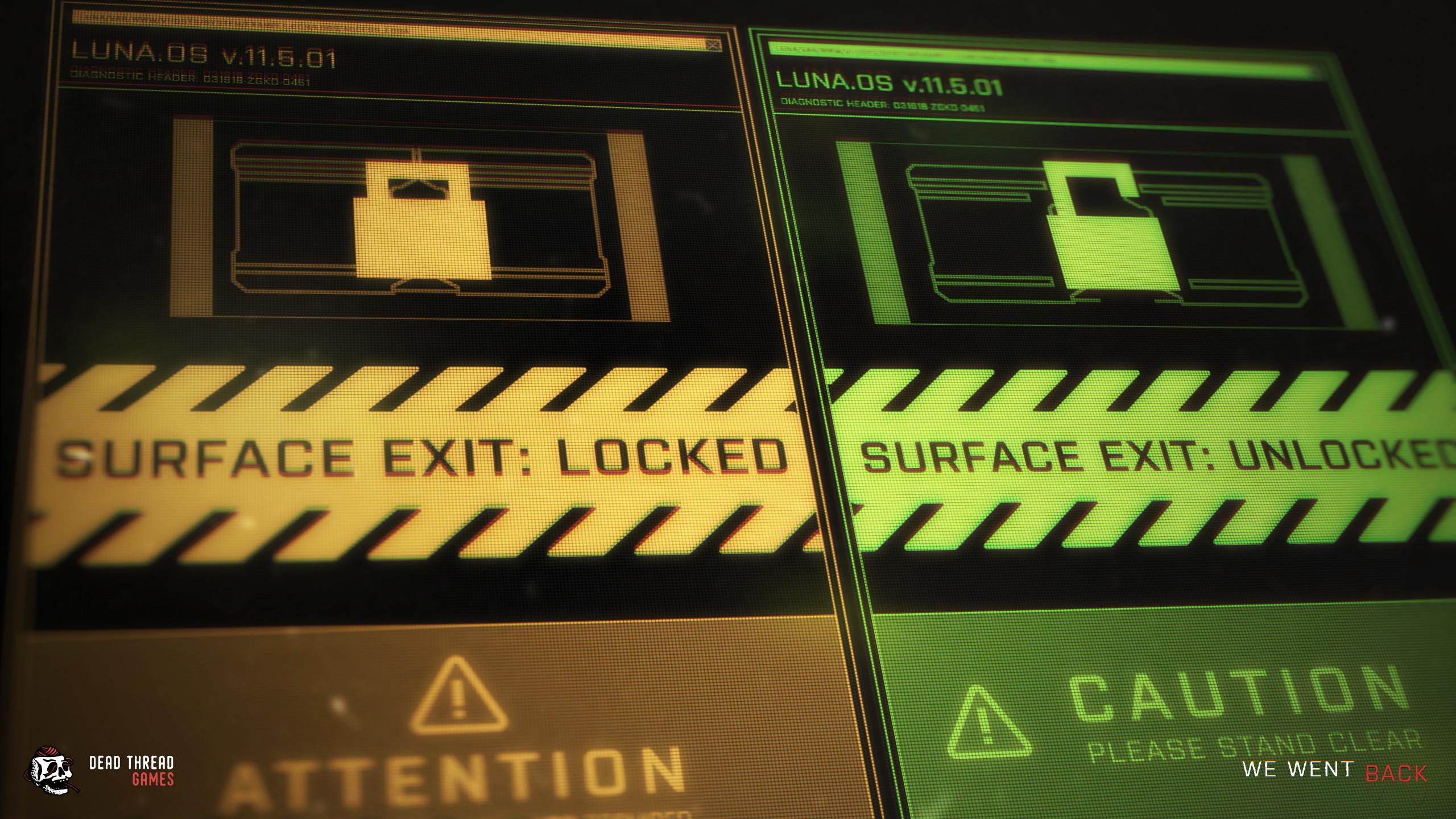 FUI Exit door screen versions.