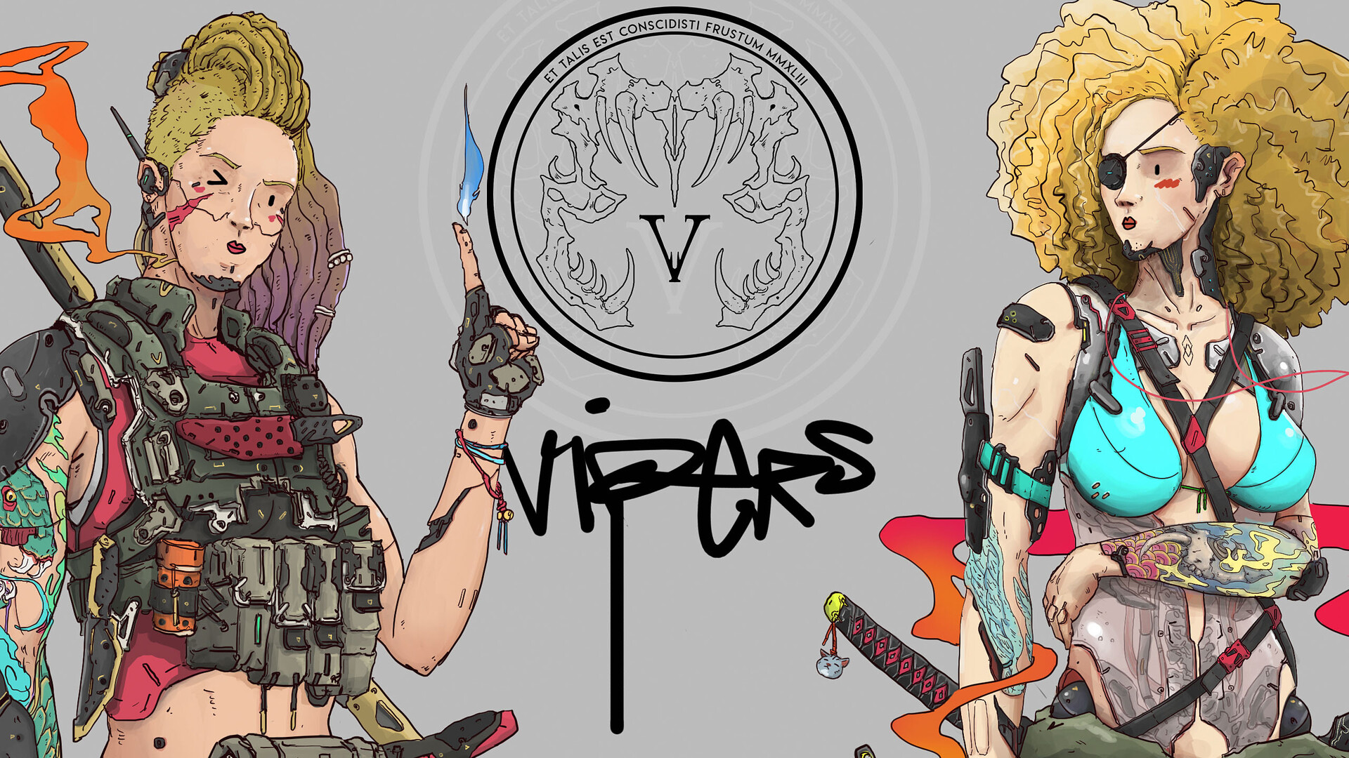 VIPERS logo design and the super realistic eyes of RED & BLU