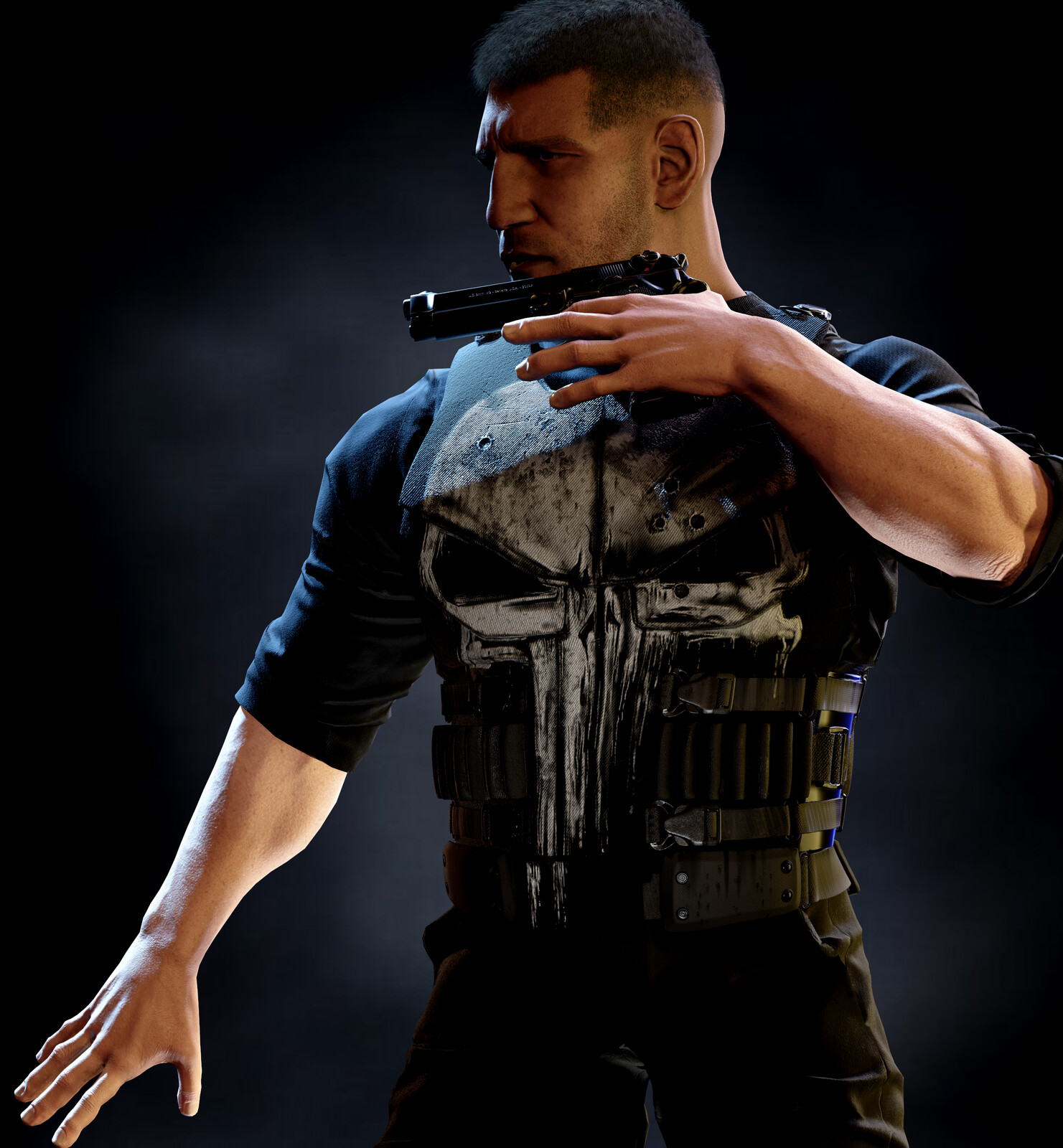 Low res render in a pose