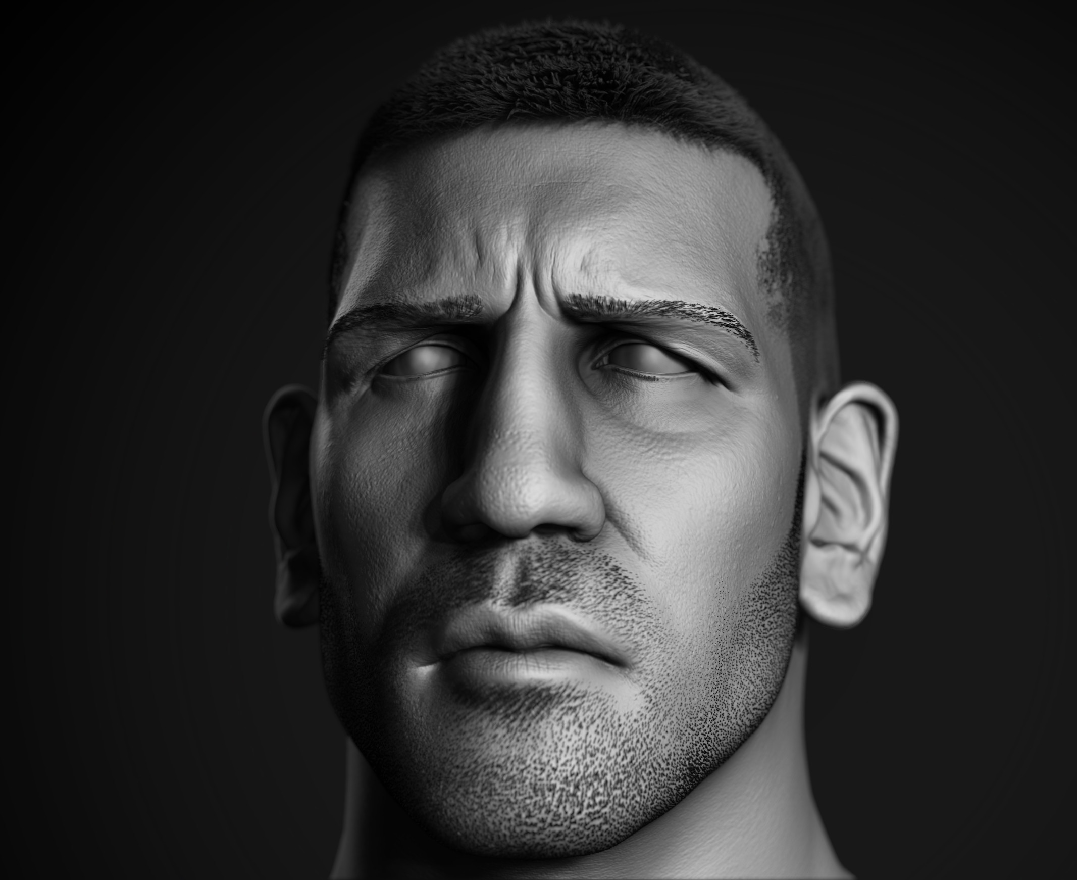 High res sculpt of the face
