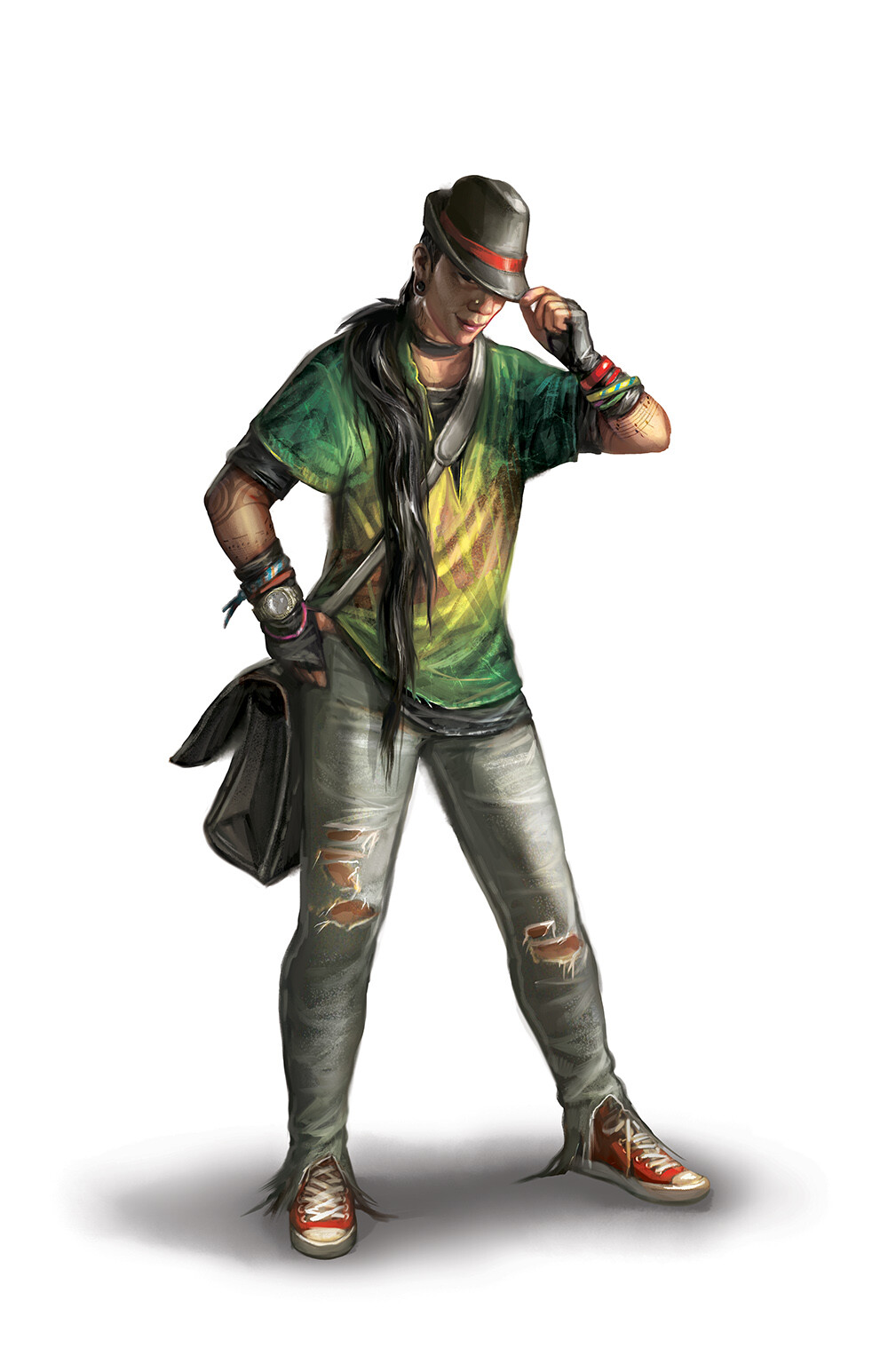 Riley. Art description: recent vampire. Cool hat with a wide brim that's easy to hide your eyes when you look down. They're a charming deejay, pickpocket, musician, and drug dealer. Normally very friendly but can be intimidating if they want to be.
