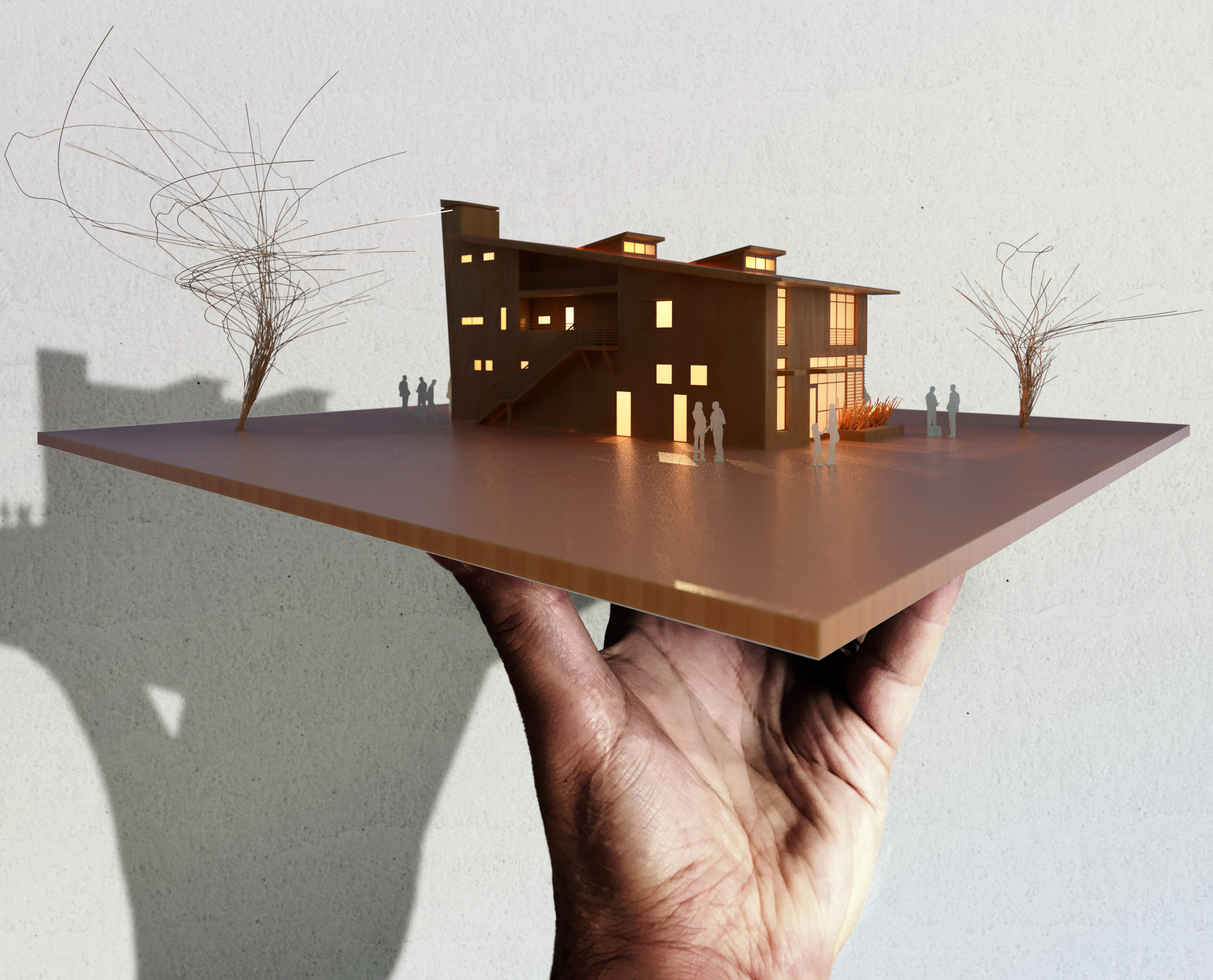 Unbuilt Gallery - Basswood - With Entourage & Composited to Hand