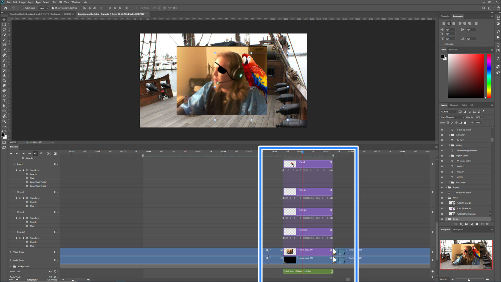 """The """"Pirate Yeti"""" visual effect within Photoshop video editor"""