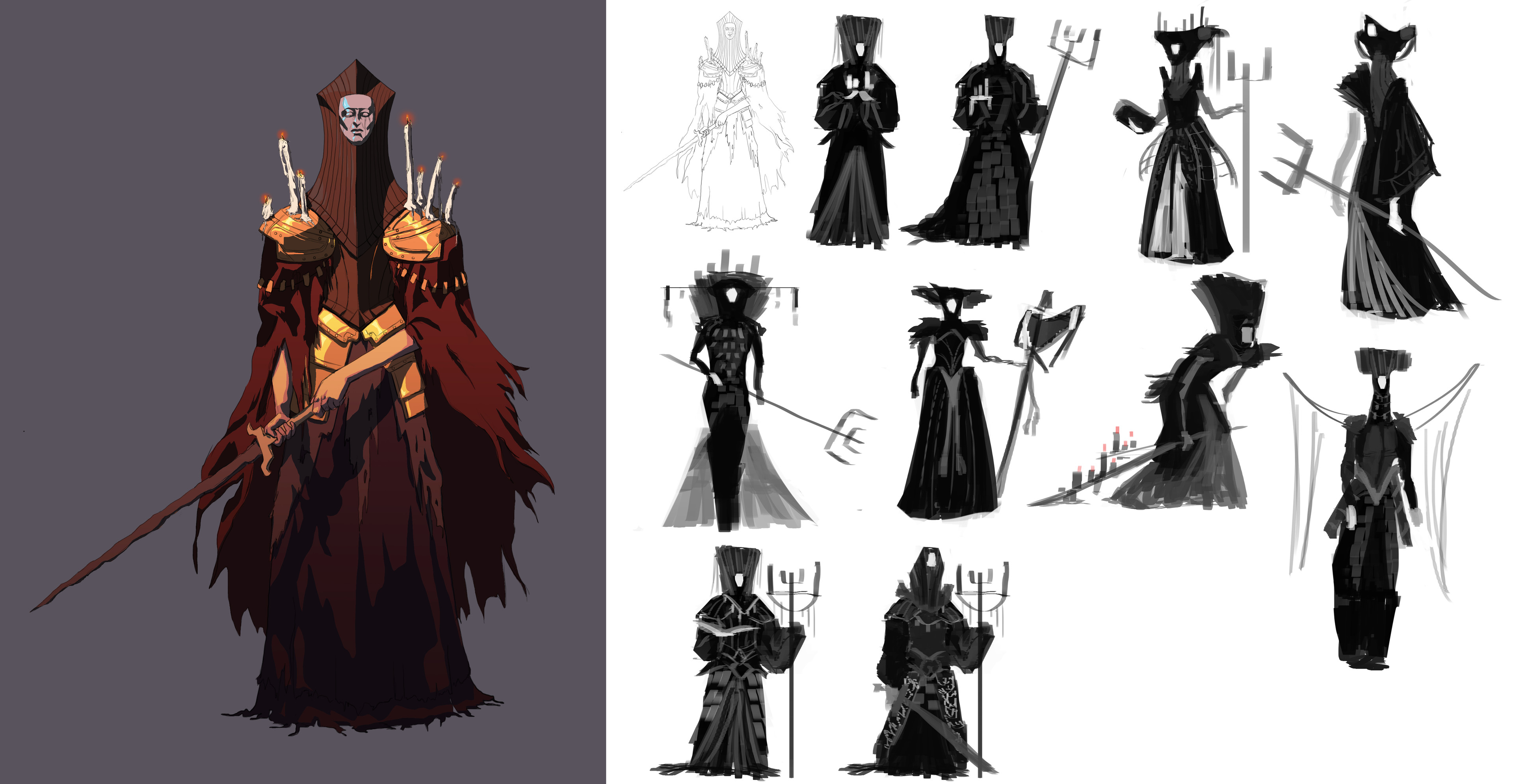 First rough silhouette explorations of the Iron Maiden character