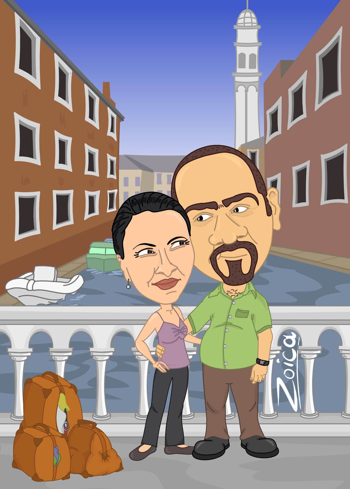 Love in Venice, caricature illustration