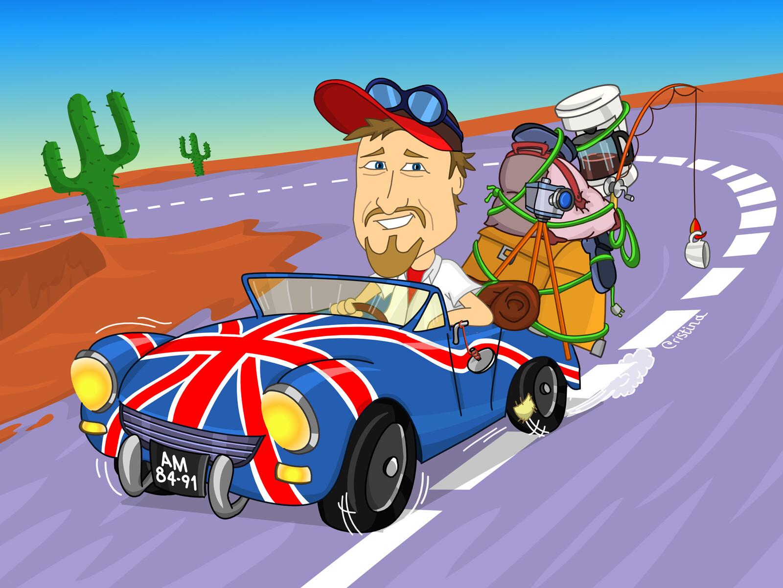 Living the dream, caricature illustration