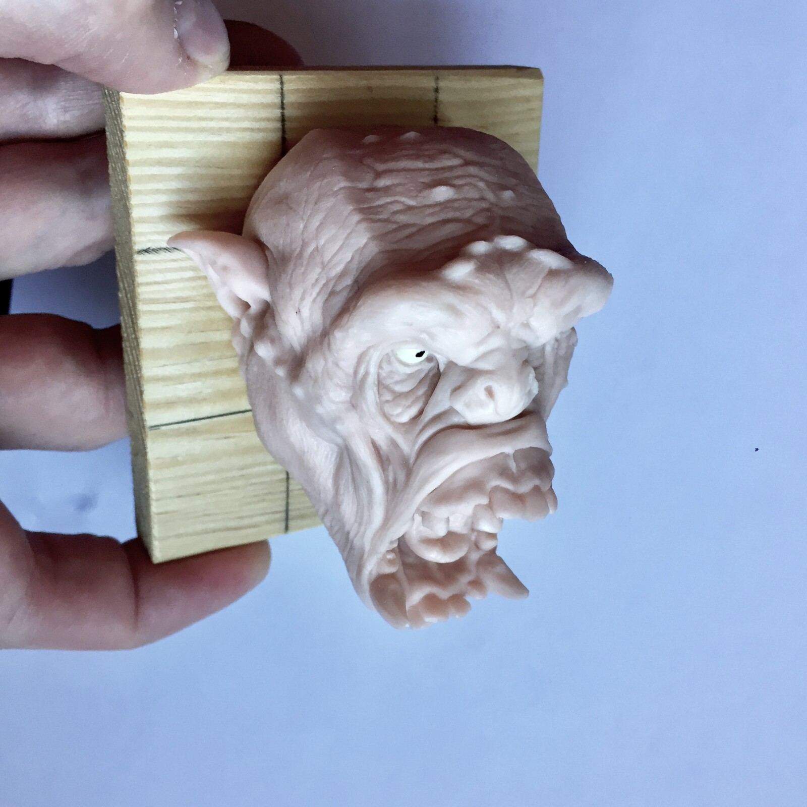 Orc screaming polimer clay sculpture.