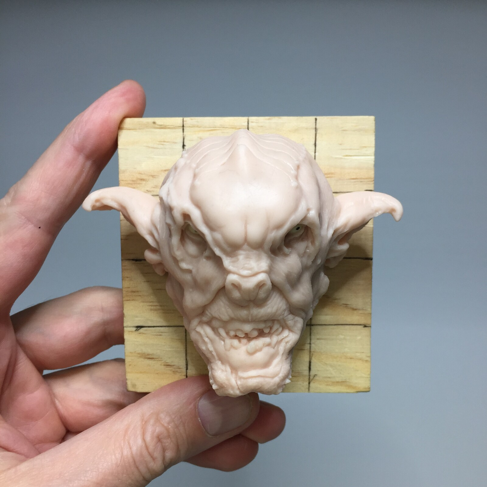 Orc head polimer clay sculoture. Handmade sculpture.