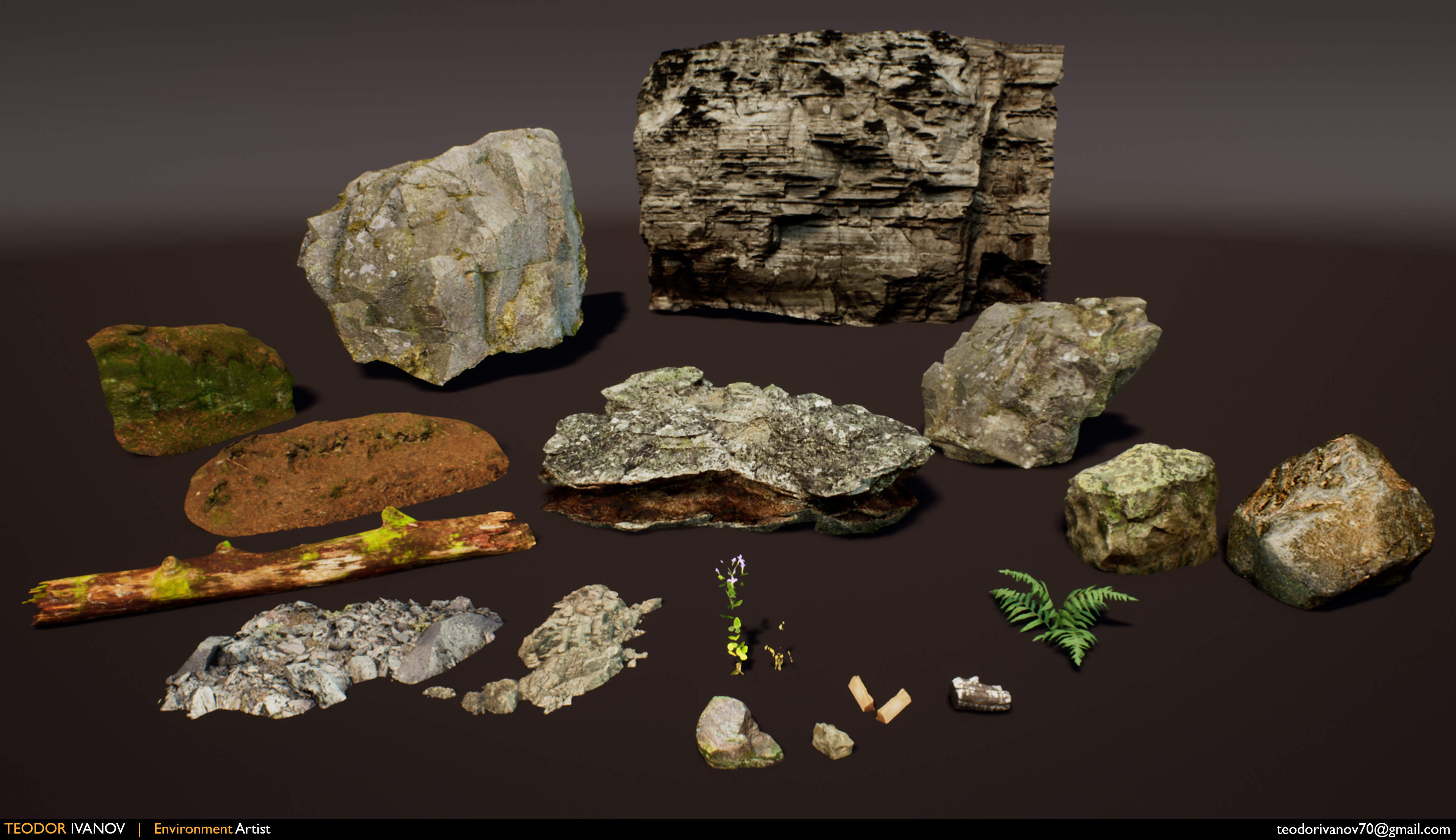 Premade assets from Quixel Megascans and Epic's Open World Demo Collection.