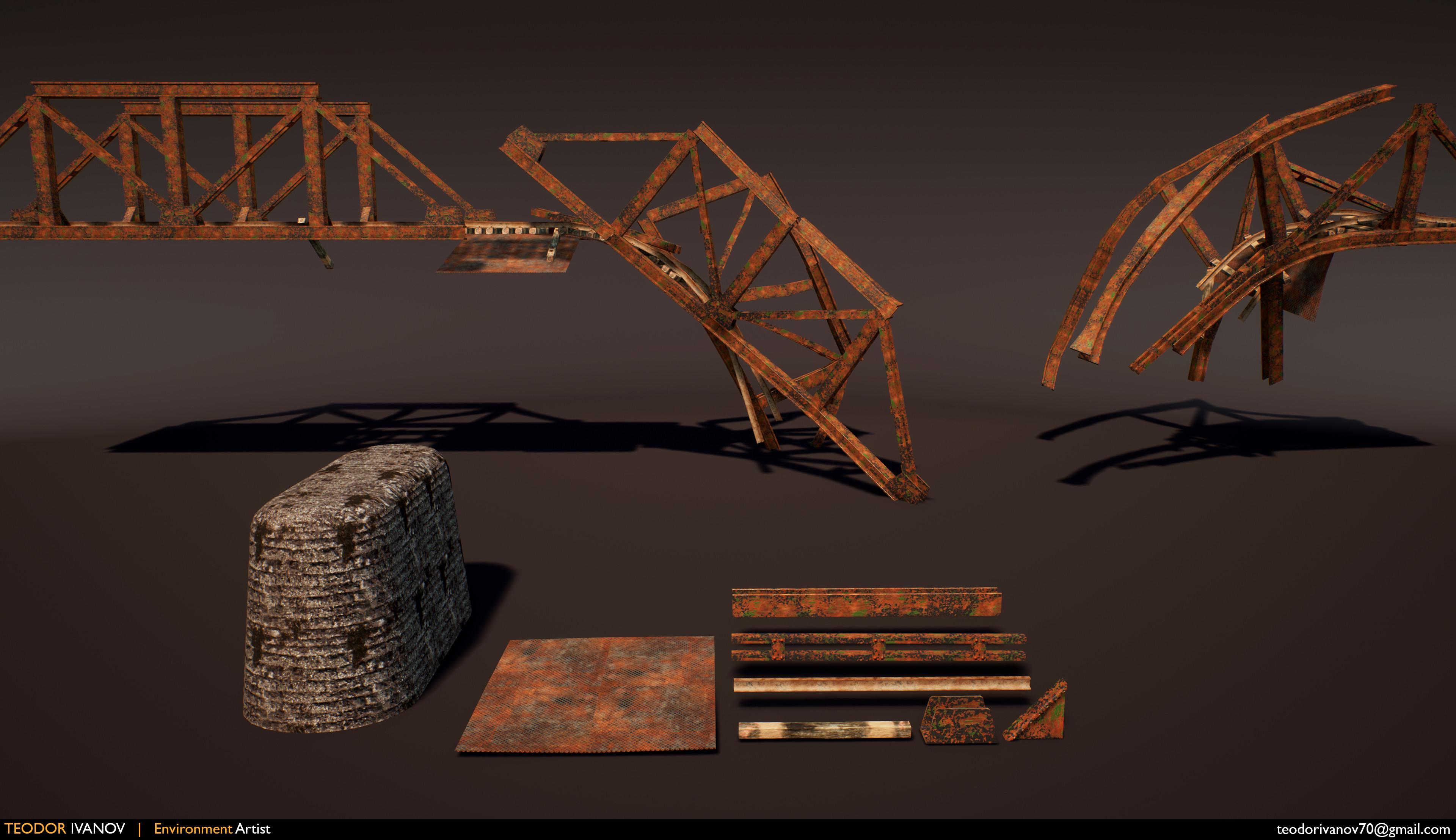 Modular pieces used to create the bridge and train tracks.