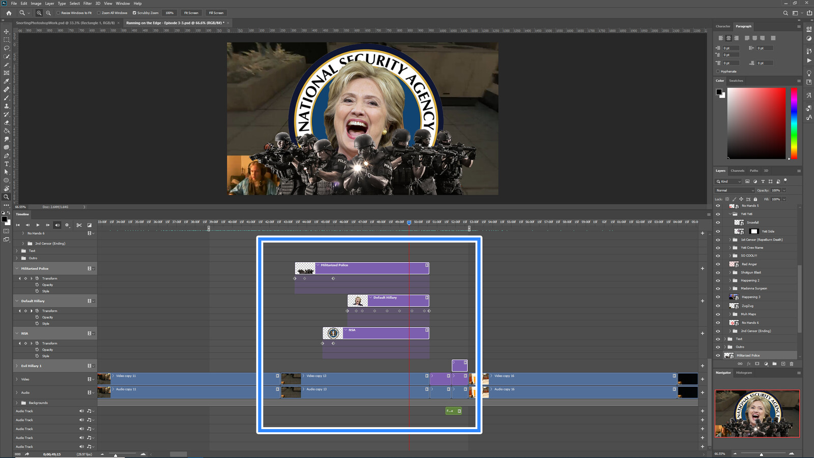 """The """"Killary"""" visual effect within Photoshop video editor"""