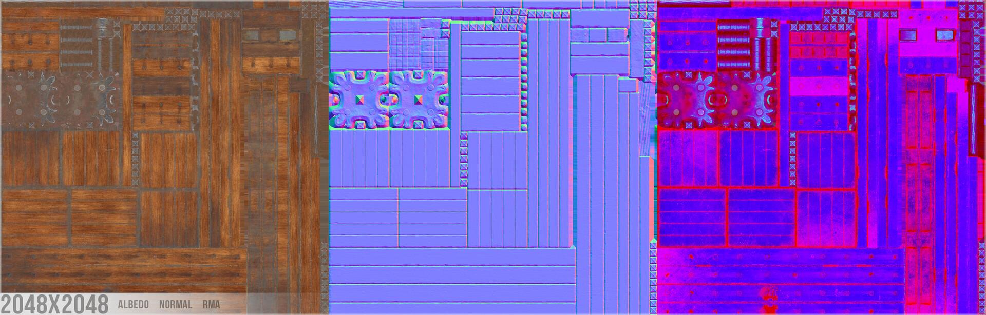 Breakdown (RMA = Roughness, Metallic, AO)