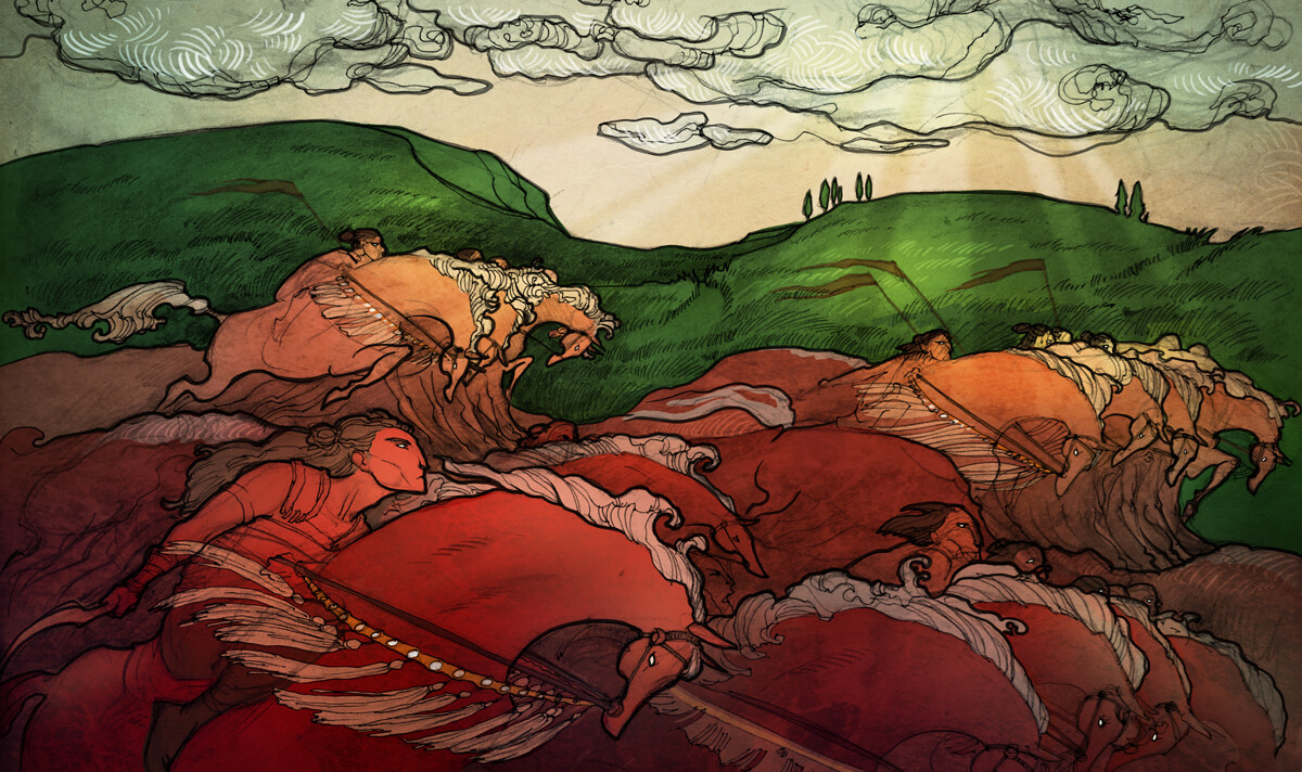 """Sea of Blood"" - playmat art."