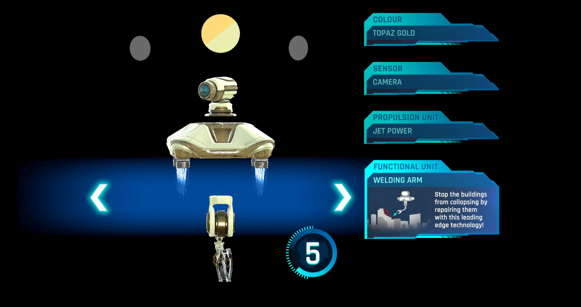 Interface to guide the player through building their robot; they select the parts by using a joystick built into the table in front of them. The main challenge in XR is to take into account the 3D and physical space, as well as the absence of screen.