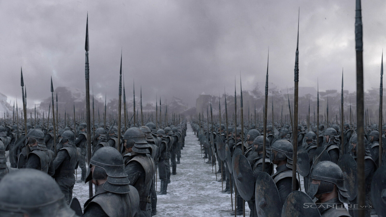 The Red Keep Plaza - The Unsullied Soldiers: Final Compositing.   CG Crowd Extension, Procedural Atmospherics and 2D and Particle Snow added.