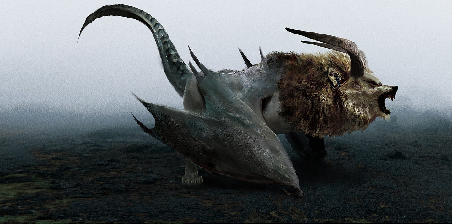 """Chimera with horns """" never give up """""""
