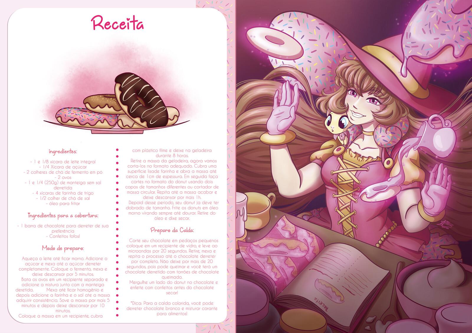 Receita e Ilustração da bruxinha Danna Donut