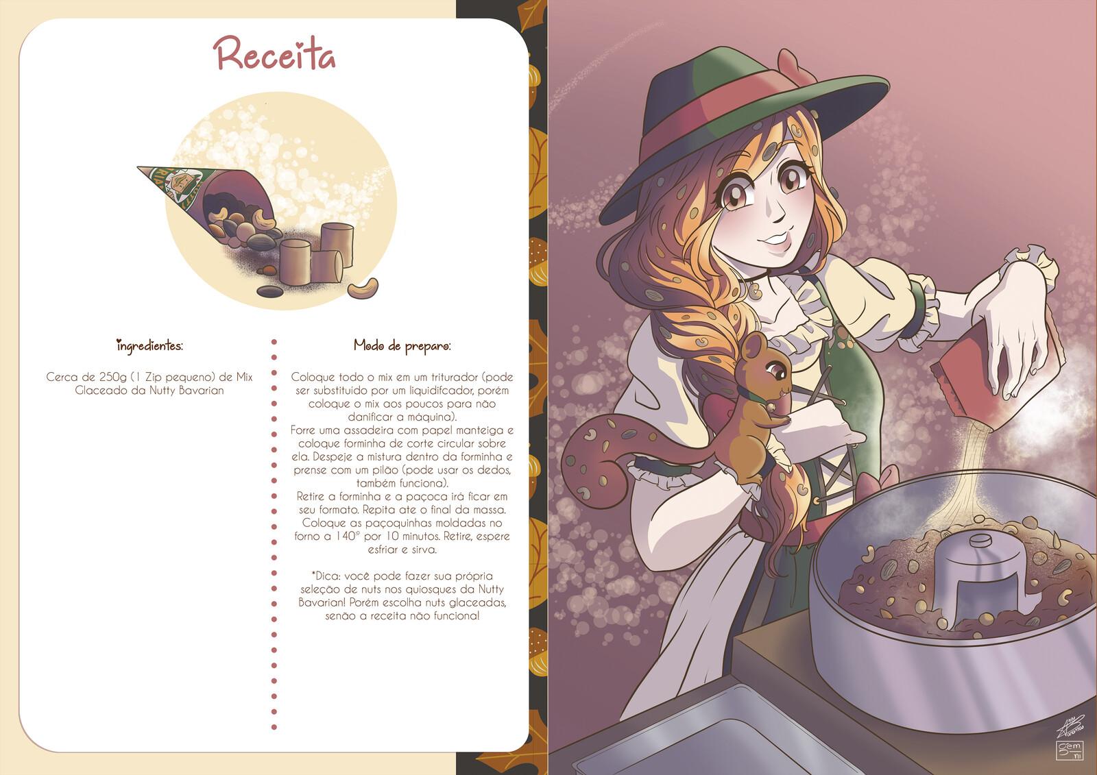 Receita e ilustração da bruxinha Greta, cores por Helena Dutra (Gemini)