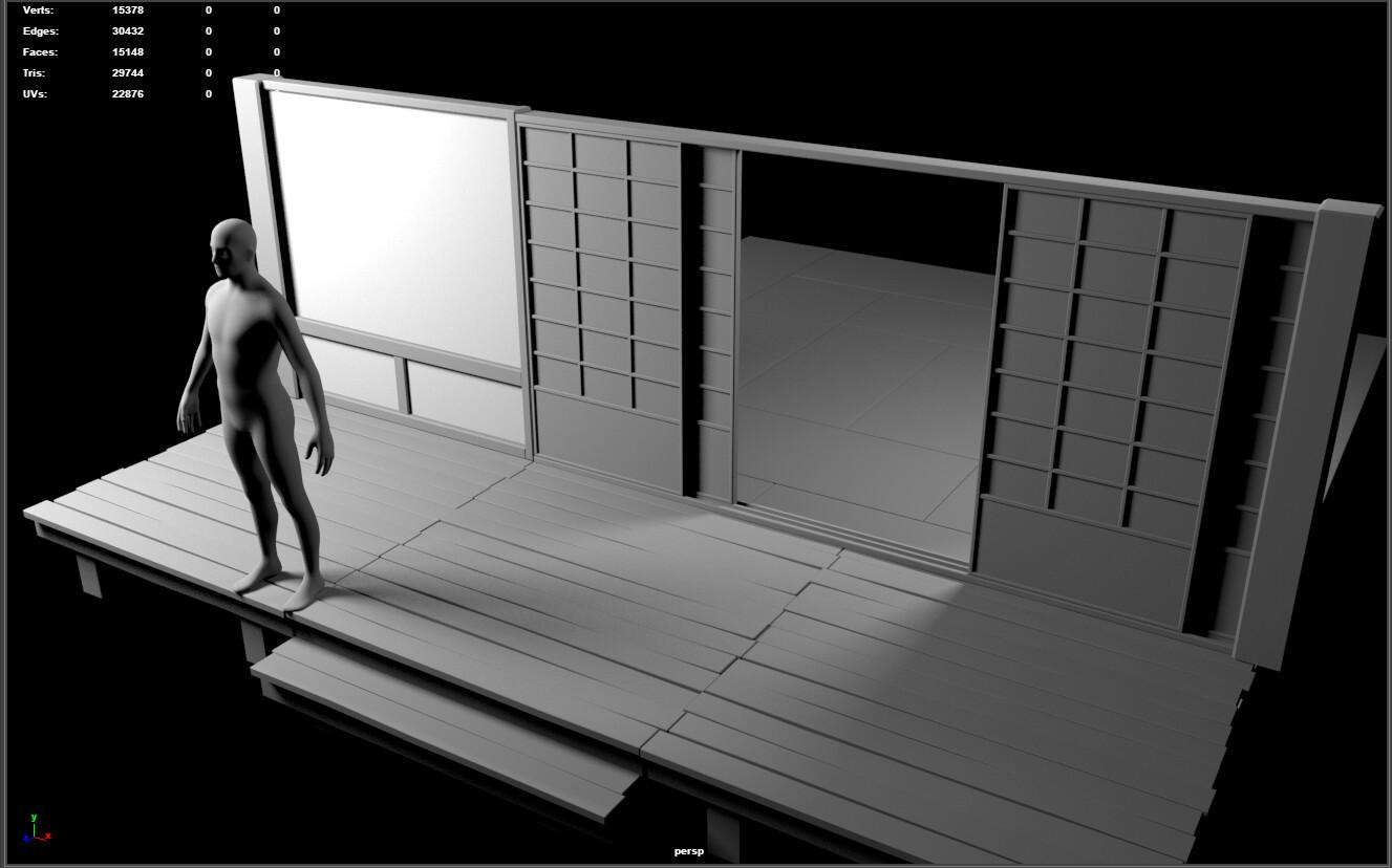 Building the base walls, shoji doors, tatami mats, and floor.