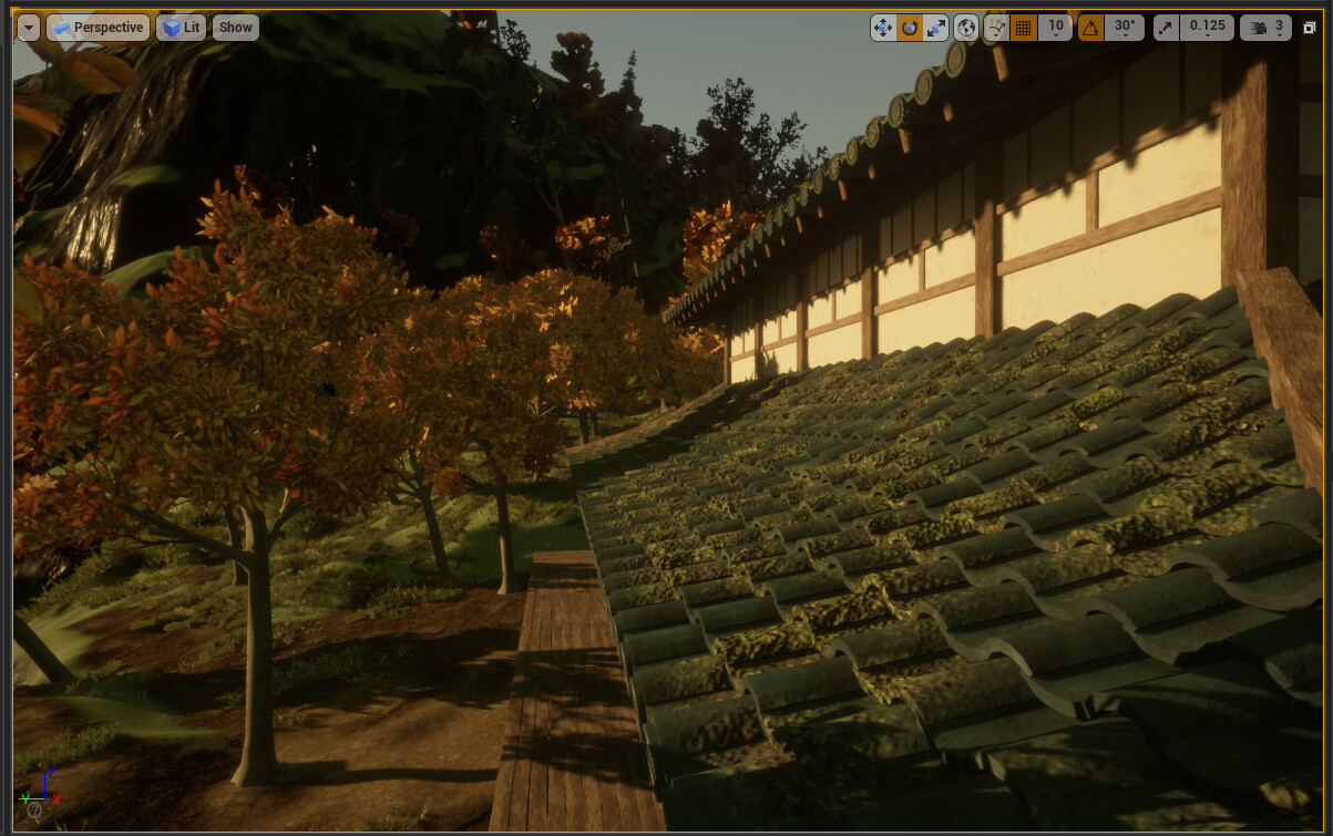 Used vertex painting to add some mossy texture to the roof, to give it some custom variation.