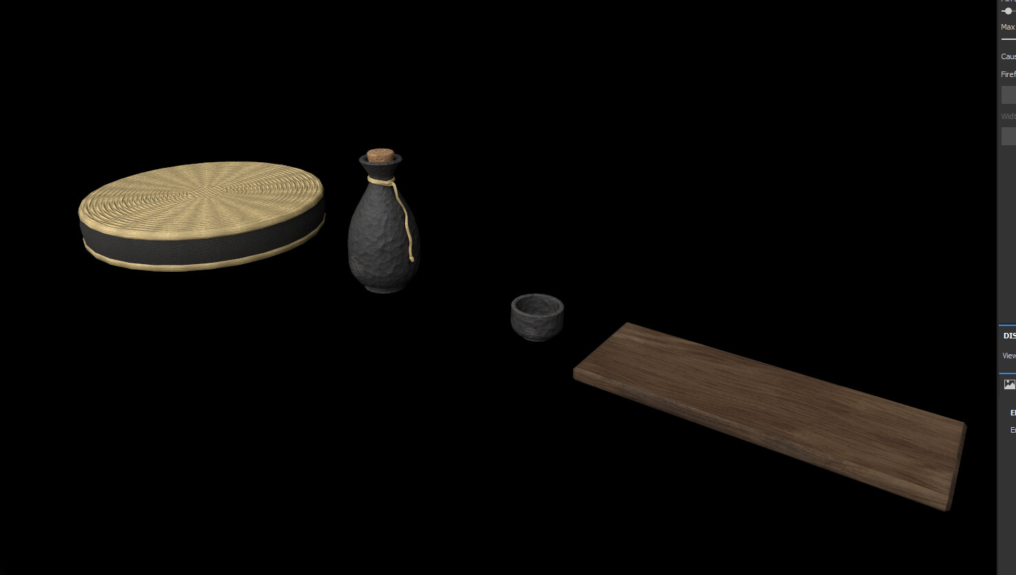 The tatami seat, the sake set, and the scroll (not pictured) are all one material. Taken out of Painter.