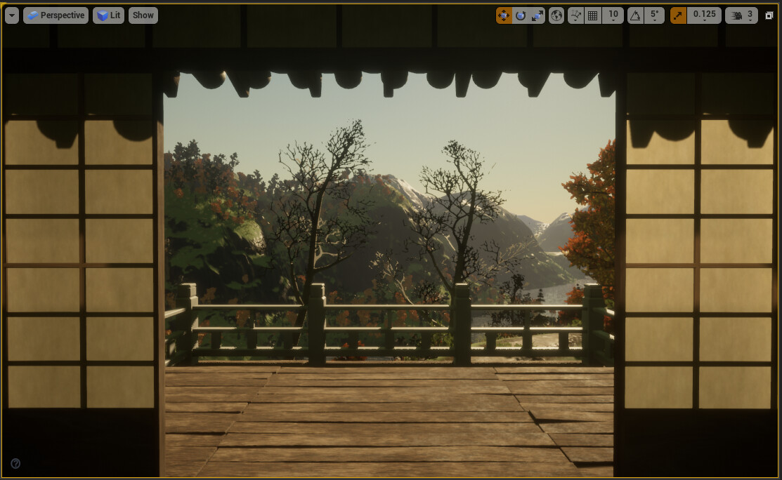 Fence post and railing models built, and then assembled in UE4.