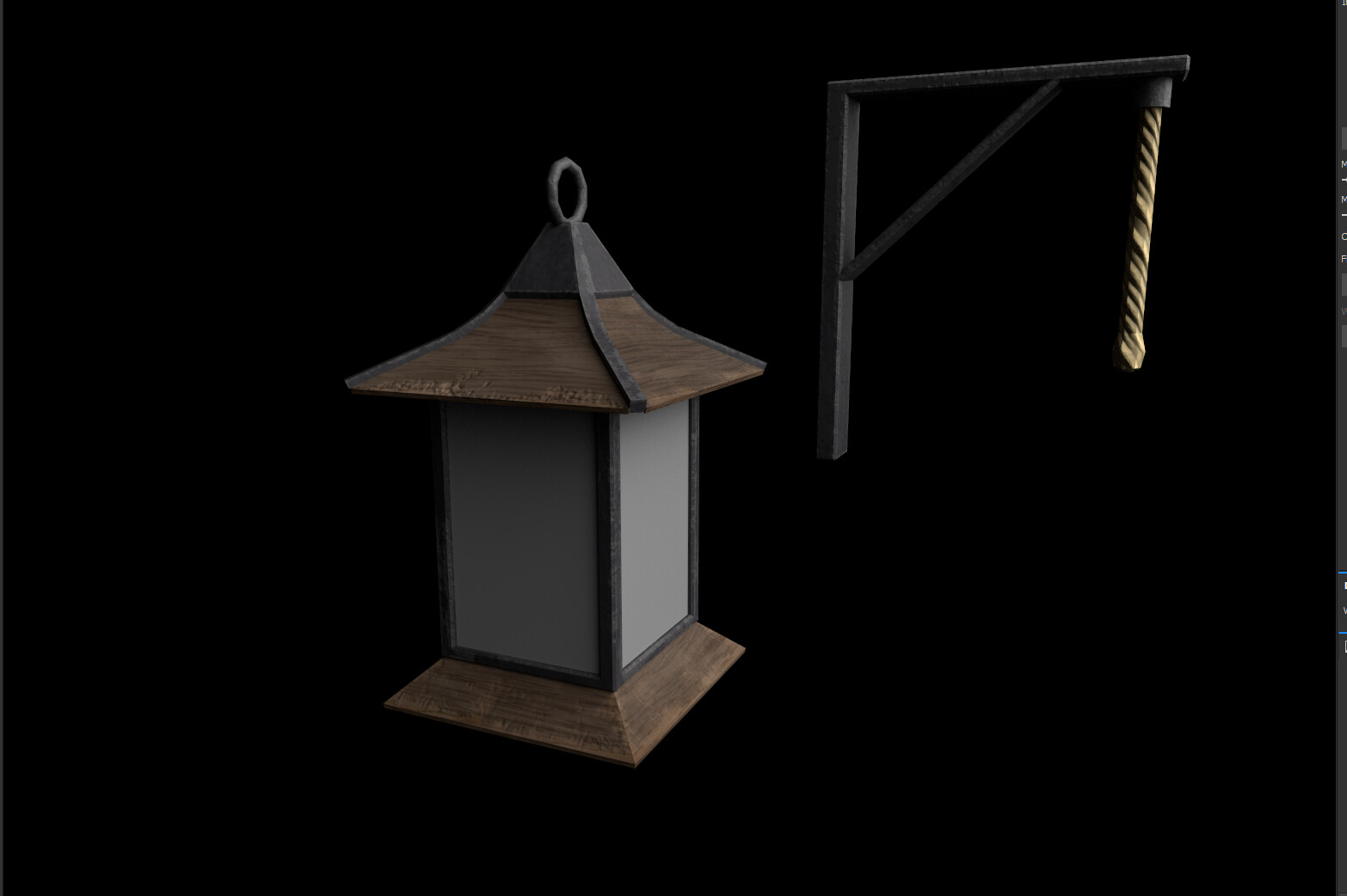 Textures for the lantern taken out of Substance Painter.
