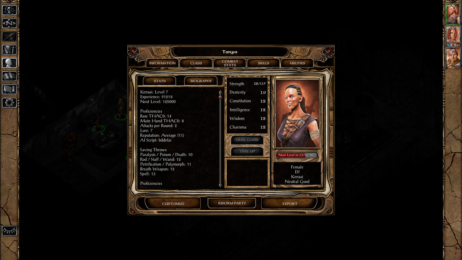 In game screen shot from Baldur's Gate 2.