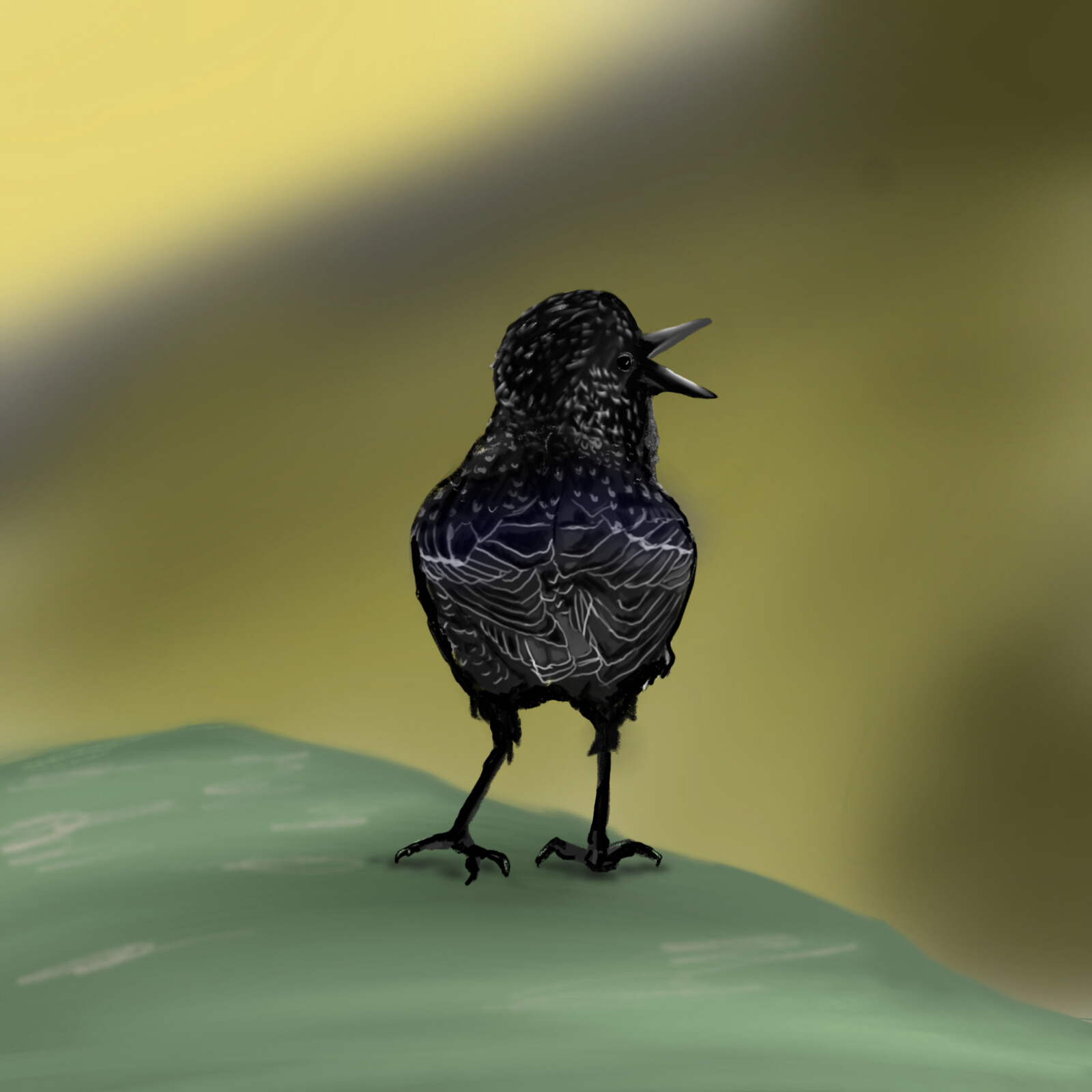 Tiny Black Bird Painting